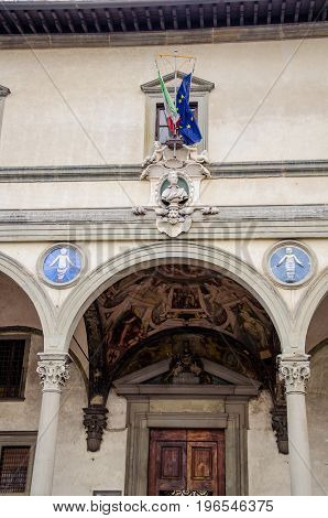 The old Ospedale degli Innocenti in Florence