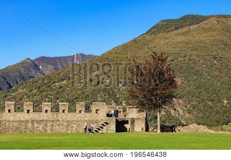 Bellinzona, Switzerland: 12 October, 2016: view from the Castelgrande fortress. The Castelgrande fortress is a UNESCO World Heritage Site. Bellinzona is the capital of the Swiss canton of Ticino.
