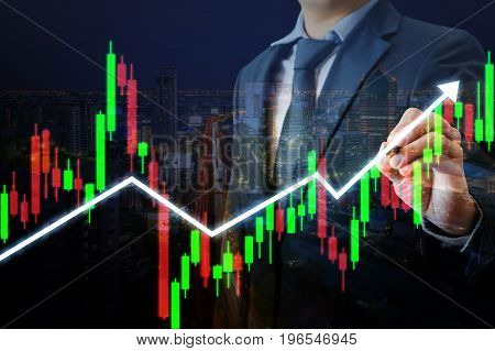 Professional Businessman Pointing Stylus Pen On Candle Stick Chart And Up Trend Line Graph, Online S