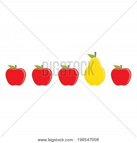 Vector illustration fresh fruit red apple and yellow pear isolated on white background.