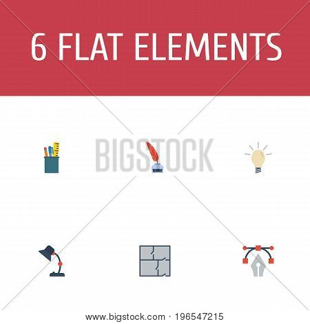 Flat Icons Pencil, Writing, Concept And Other Vector Elements