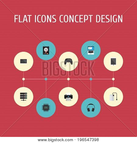 Flat Icons Laptop, Datacenter, Storage Device And Other Vector Elements