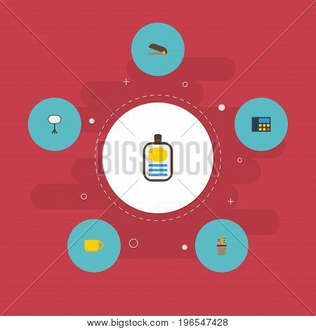 Flat Icons Puncher, Tea, Phone And Other Vector Elements