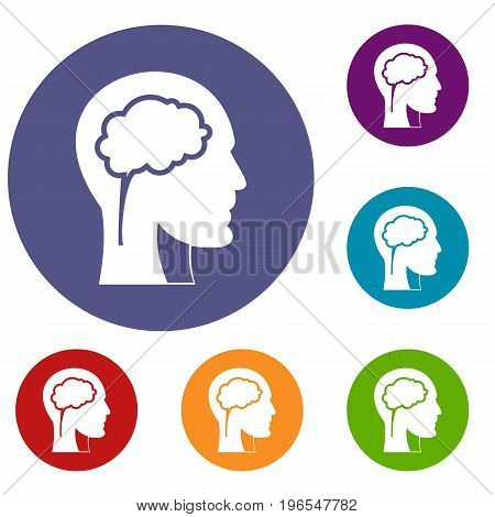 Head with brain icons set in flat circle red, blue and green color for web