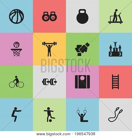 Set Of 16 Editable Exercise Icons. Includes Symbols Such As Weightlifting, Weightiness, Bodybuilding And More