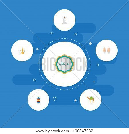 Flat Icons Pitcher, Praying Man, Palm And Other Vector Elements