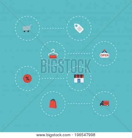 Flat Icons Sign, Percentage, Trolley And Other Vector Elements