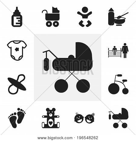 Set Of 12 Editable Child Icons. Includes Symbols Such As Plush Animal, Carriage, Tricycle And More