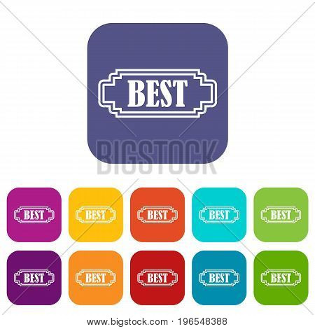 Best rectangle label icons set vector illustration in flat style in colors red, blue, green, and other