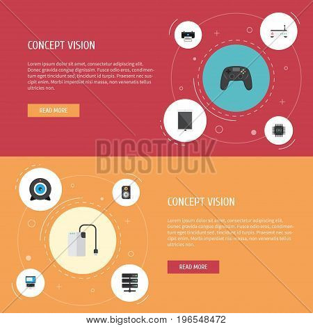 Flat Icons Laptop, Web Cam, Palmtop And Other Vector Elements
