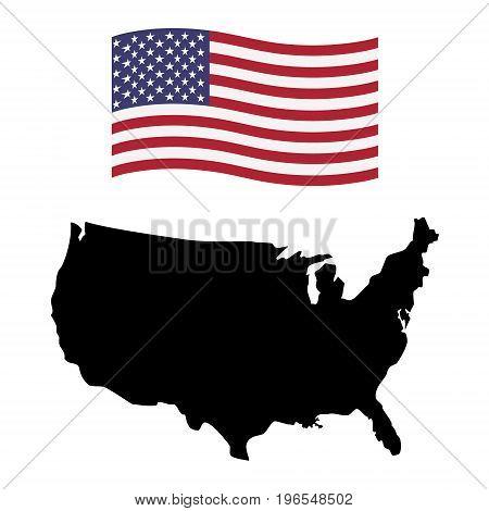 Usa Map And Flag Icon
