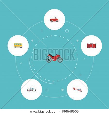 Flat Icons Chopper, Motorbike, Bicycle And Other Vector Elements