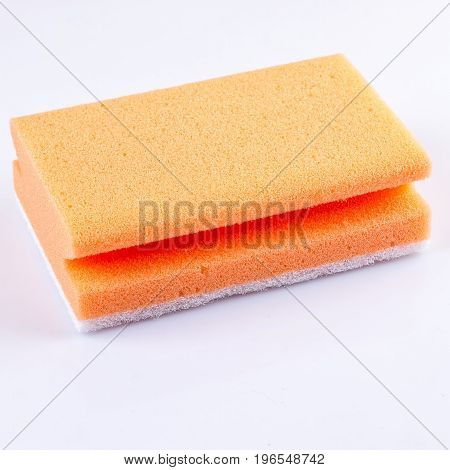 colored sponges close up cleaners detergents household cleaning sponge for cleaning on white background