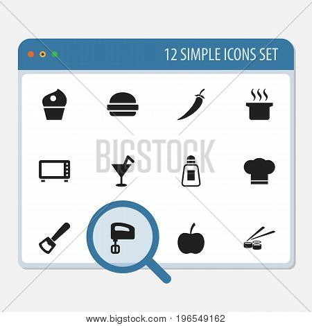 Set Of 12 Editable Meal Icons. Includes Symbols Such As Chili, Bar, Cook Cap And More