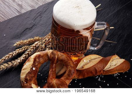 Beer In A Mug. Oktoberfest Salted Soft Pretzels And Beer From Germany