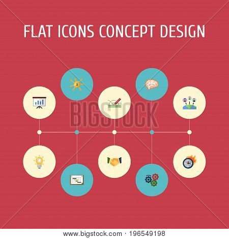 Flat Icons Schedule, Mind, Administration And Other Vector Elements