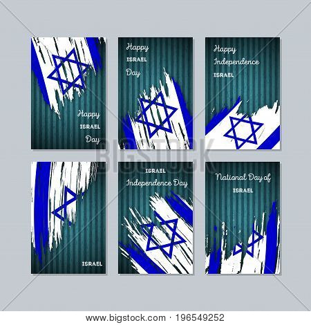 Israel Patriotic Cards For National Day. Expressive Brush Stroke In National Flag Colors On Dark Str