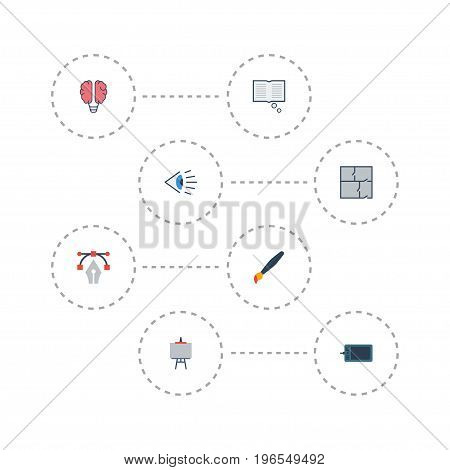 Flat Icons Stand, Gadget, Scheme Vector Elements. Set Of Constructive Flat Icons Symbols Also Includes Draw, Gadget, Property Objects.