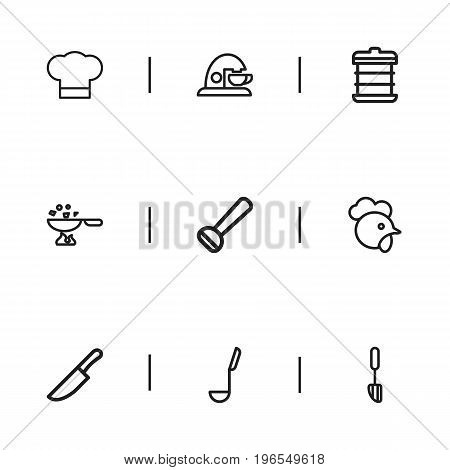 Set Of 9 Editable Cooking Outline Icons. Includes Symbols Such As Cooking Pan, Spatula, Cock And More