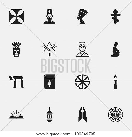 Set Of 16 Editable Faith Icons. Includes Symbols Such As Om Aum, Cherub, Minaret And More