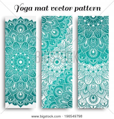 Set of yoga, pilates, meditation mats with hand drawn mandala pattern