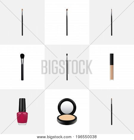 Realistic Make-Up Product, Varnish, Contour Style Kit And Other Vector Elements