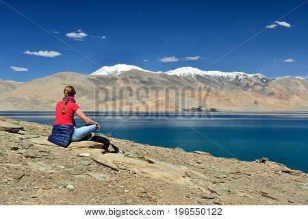 View of Tso Moriri Lake in the Karakorum Mountains near Leh India. This lake is a frequent destination for tourists.