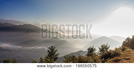 Panoramic View To The Himalayas From Sarangkot Hill Near Pokhara In Nepal