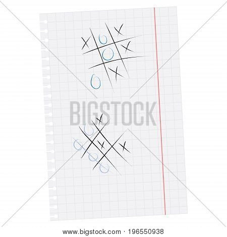 Vector illustration tic tac toe simple game. XO game. Hand drawn tictactoe game on squared paper