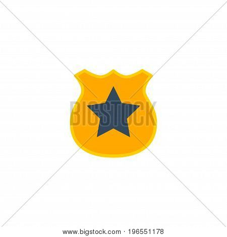 Flat Icon Police Badge Element. Vector Illustration Of Flat Icon Officer Emblem Isolated On Clean Background