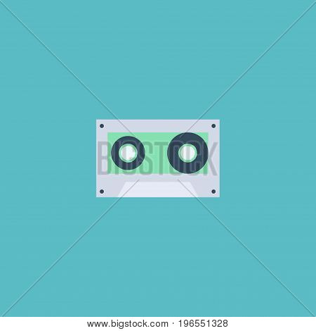 Flat Icon Cassette Element. Vector Illustration Of Flat Icon Tape Isolated On Clean Background