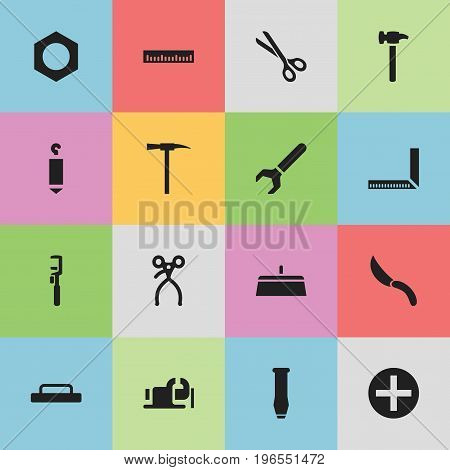 Set Of 16 Editable Tools Icons. Includes Symbols Such As Repairing Tool, Measure, Jackknife And More