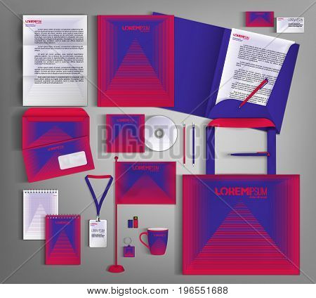 Trendy  corporate identity template design with  Minimal future geometric style. Modern business set stationerywith Abstract 3d meshes.