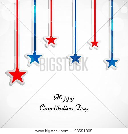 illustration of hanging colorful stars with Happy Constitution Day text on the occasion of USA Constitution Day