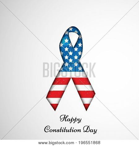 illustration of ribbon in USA flag background with Happy Constitution Day text on the occasion of USA Constitution Day