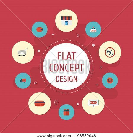 Flat Icons Shop, Big Sale, Purse And Other Vector Elements