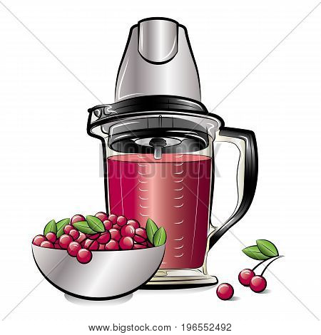 Drawing color kitchen blender with Cherry juice. Vector illustration