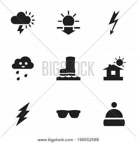 Set Of 9 Editable Climate Icons. Includes Symbols Such As Lightning, House, Eyeglasses And More