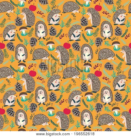 Vector seamless hedgehog cute pattern. Cute background with Hedgehog forest set illustration