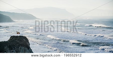Ikurrina flag with Windy waves in Sopelana beach Basque Country