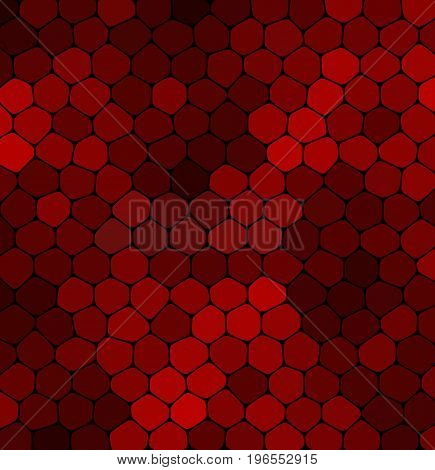 Abstract mosaic red stone on a black background. Mosaic red stone
