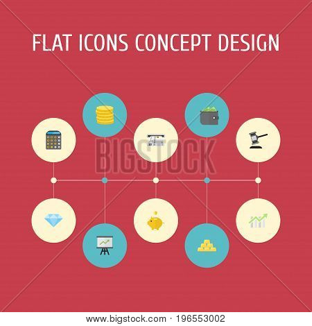 Flat Icons Accounting, Teller Machine, Small Change And Other Vector Elements
