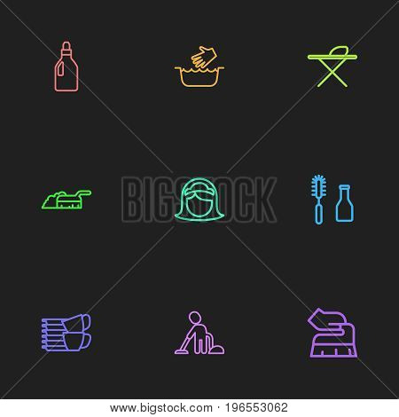 Set Of 9 Editable Cleanup Outline Icons. Includes Symbols Such As Scrub, Maid, Washing Liquid And More
