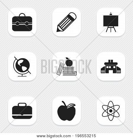 Set Of 9 Editable Education Icons. Includes Symbols Such As Kindergarten, Earth Planet, Trunk And More