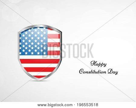 illustration of shield in USA flag background with Happy Constitution Day text