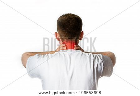 man in white t shirt holding her painful neck back experiencing pain on a white background