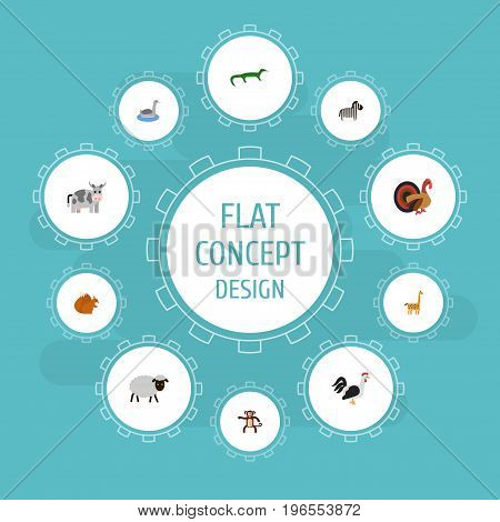 Flat Icons Gobbler, Chimpanzee, Waterbird And Other Vector Elements