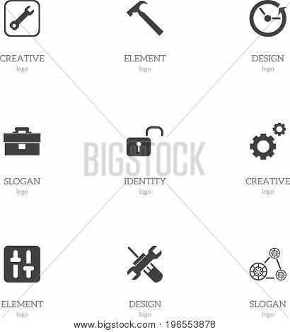 Set Of 9 Editable Tool Icons. Includes Symbols Such As Portfolio, Handle Hit, Equalizer