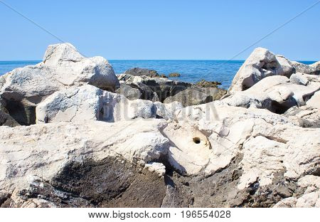 View of the Adriatic Sea in Croatia from the rocky coast.