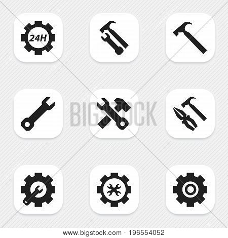 Set Of 9 Editable Toolkit Icons. Includes Symbols Such As Pliers Hammer, Gear, Wrench Hammer And More